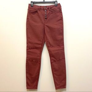Mudd Maroon High Rise Button Front Jegging Size 9